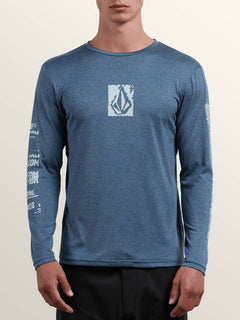 Lido Pixel Heather Long Sleeve Rashguard In Deep Blue, Front View