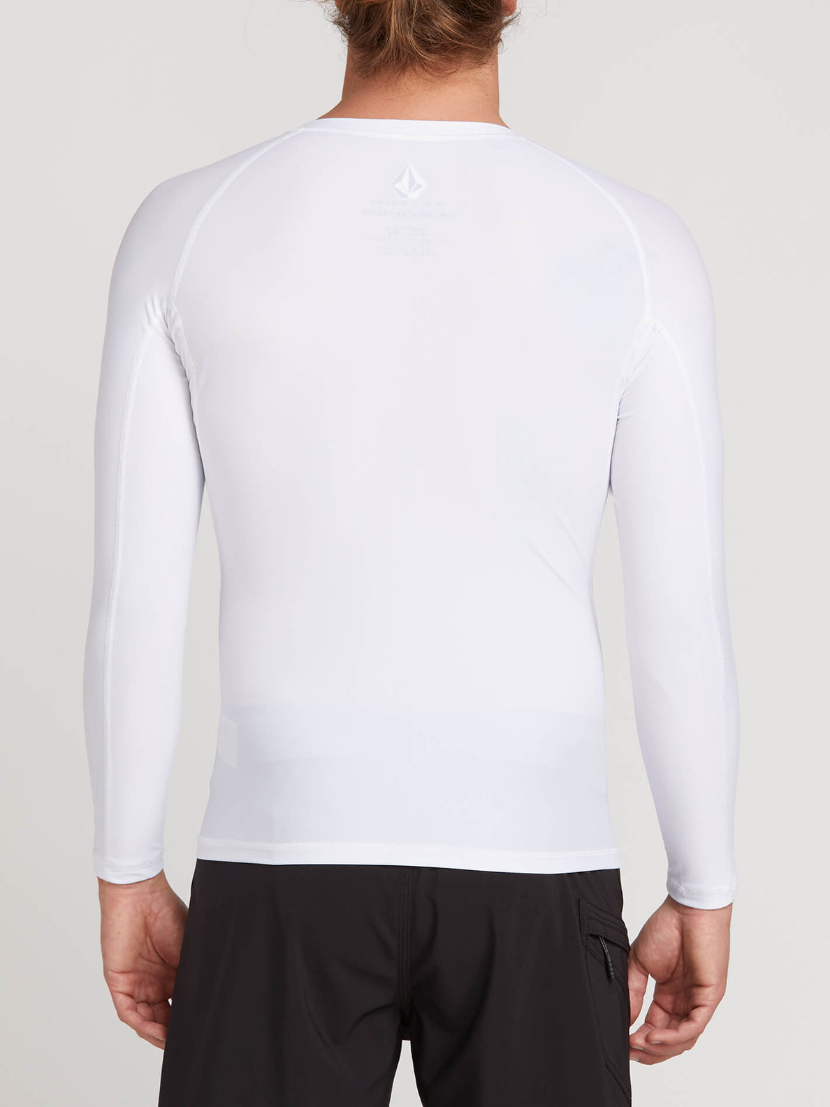 Lido Solid Long Sleeve Rashguard In White, Back View