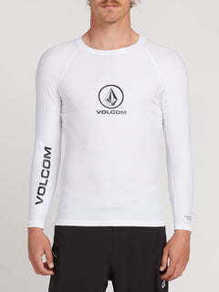 Lido Solid Long Sleeve Rashguard In White, Front View