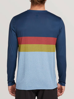 Lido Heather Block Long Sleeve Rashguard In Vintage Blue, Back View