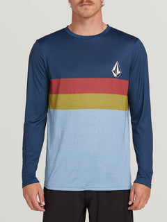 Lido Heather Block Long Sleeve Rashguard In Vintage Blue, Front View