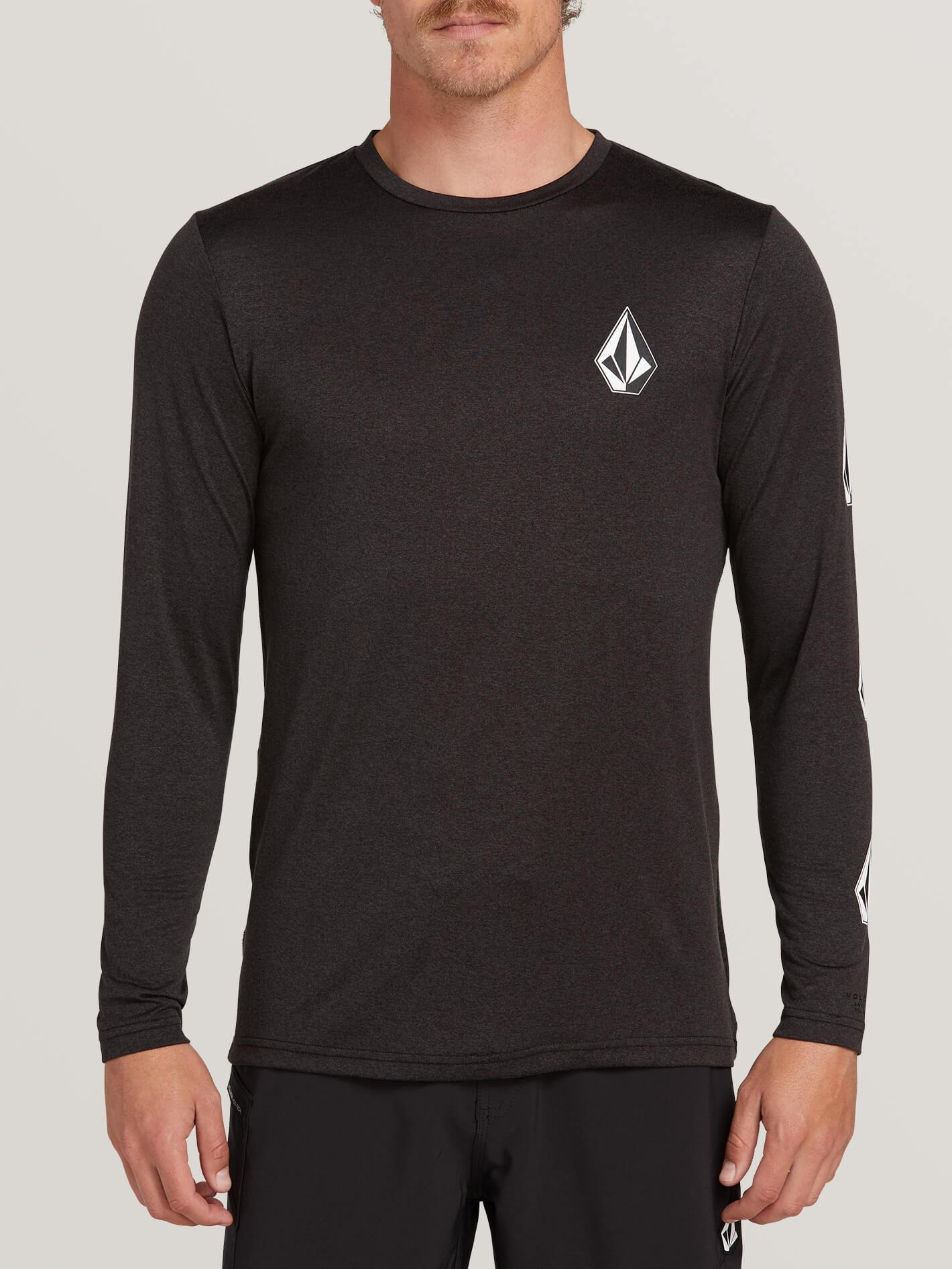 Volcom Deadly Stones Long Sleeve Upf 30 Rashguard - Black - Black - XS