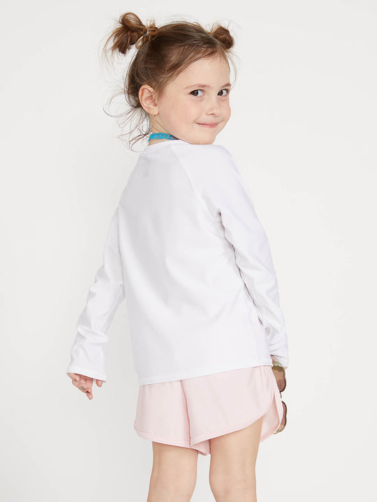Little Girls Stone Plate Long Sleeve Rashguard In White, Back View