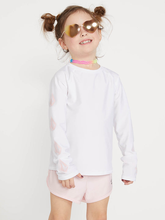 Little Girls Stone Plate Long Sleeve Rashguard In White, Front View