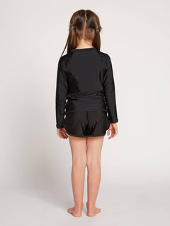 Little Girls Ponyin Along Long Sleeve Rashguard In Black, Back View
