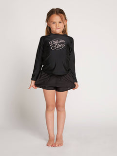 Little Girls Ponyin Along Long Sleeve Rashguard In Black, Front View