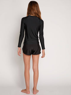 Big Girls Volcom Chatter Long Sleeve Rashguard In Black, Back View