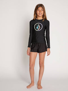 Big Girls Volcom Chatter Long Sleeve Rashguard In Black, Front View