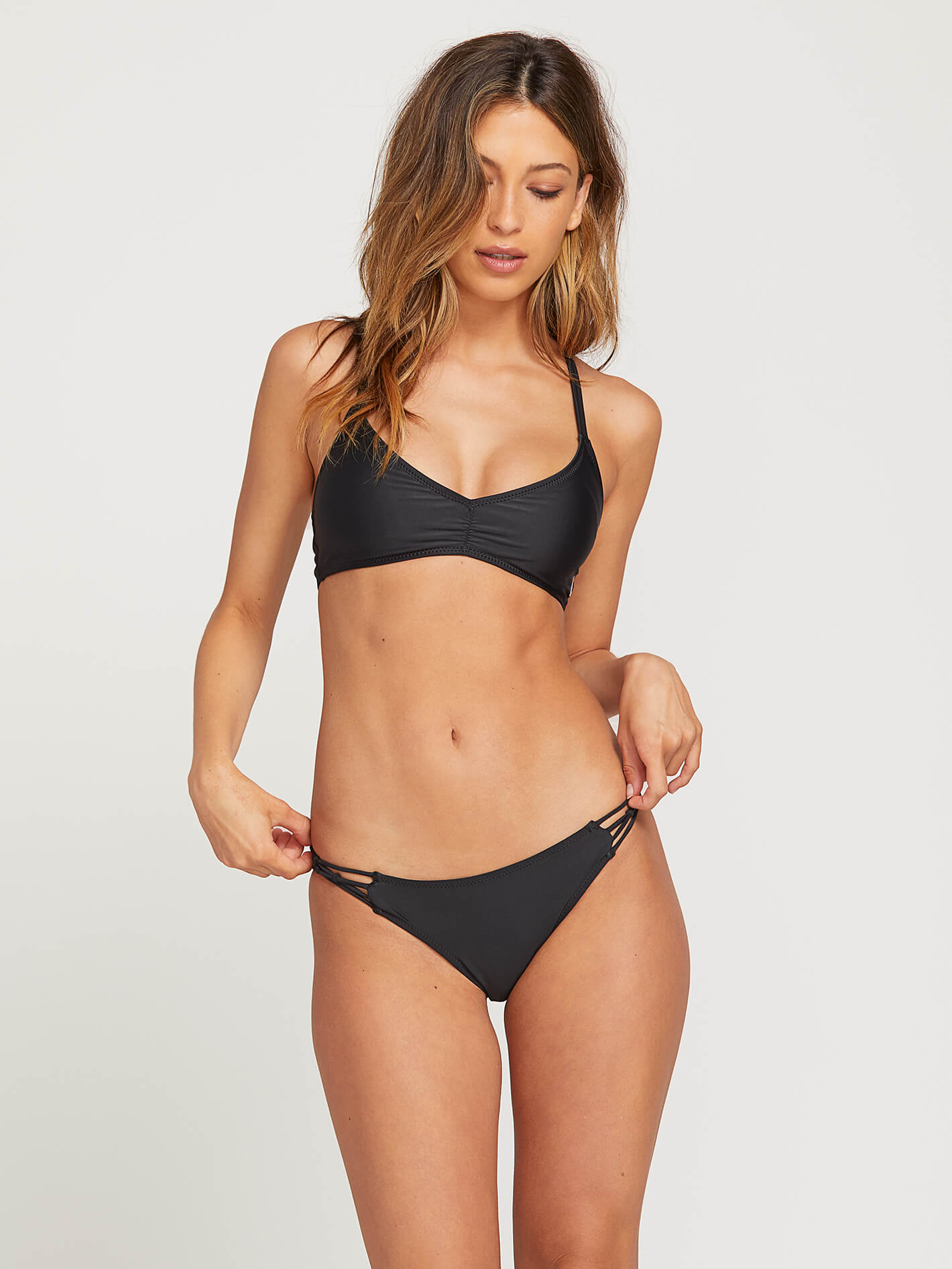 b470d39147a16 Volcom Simply Solid V Neck Top | Black Criss-Cross Bikini Top