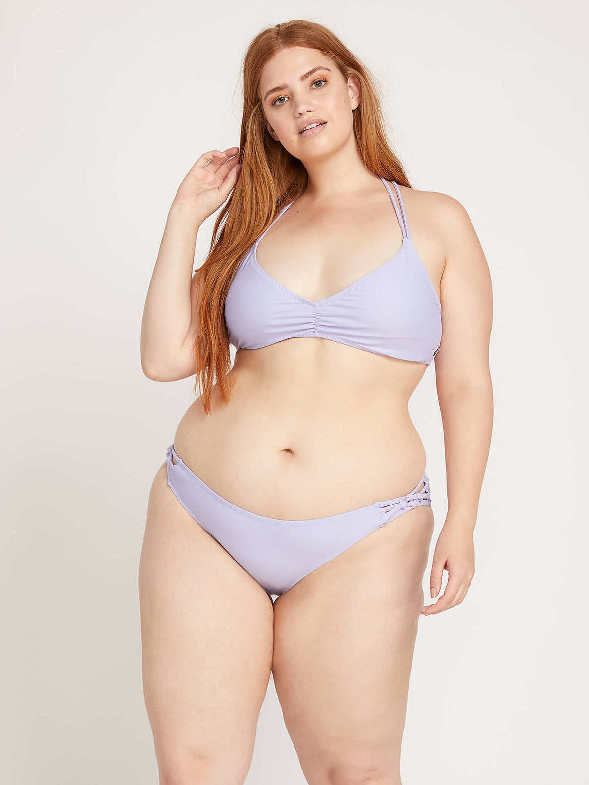 a5d866265f5f Simply Solid V Neck Top In Violet, Front Plus Size View ...