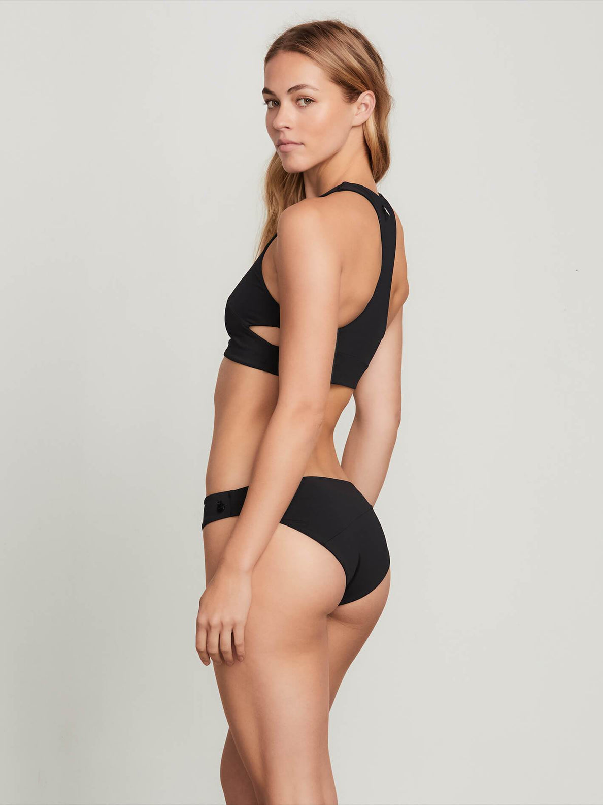 Simply Seamless Crop Top In Black, Back View