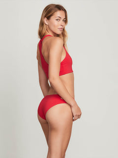 Simply Seamless Crop Top In True Red, Back View