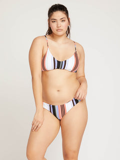 Stripe Tease V Neck Top In Multi, Front Extended Size View