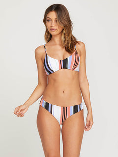 Stripe Tease V Neck Top In Multi, Front View