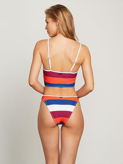 Stripe Search Crop Top In White, Back View