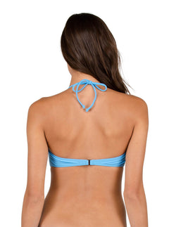 Simply Solid Bandeau In Coastal Blue, Back View
