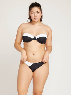 Simply Rib Bandeau In Black, Front Extended Size View