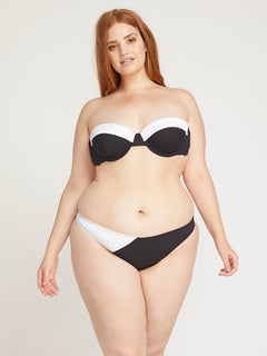 Simply Rib Bandeau In Black, Front Plus Size View