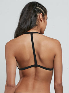 Stay Tuned Reversible Halter Top In Black, Back View