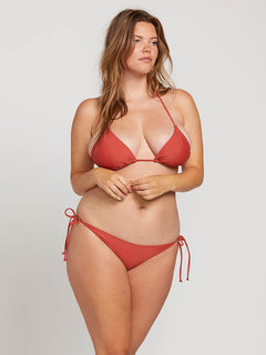 Simply Solid Triangle Top In Burnt Red, Front Extended Size View