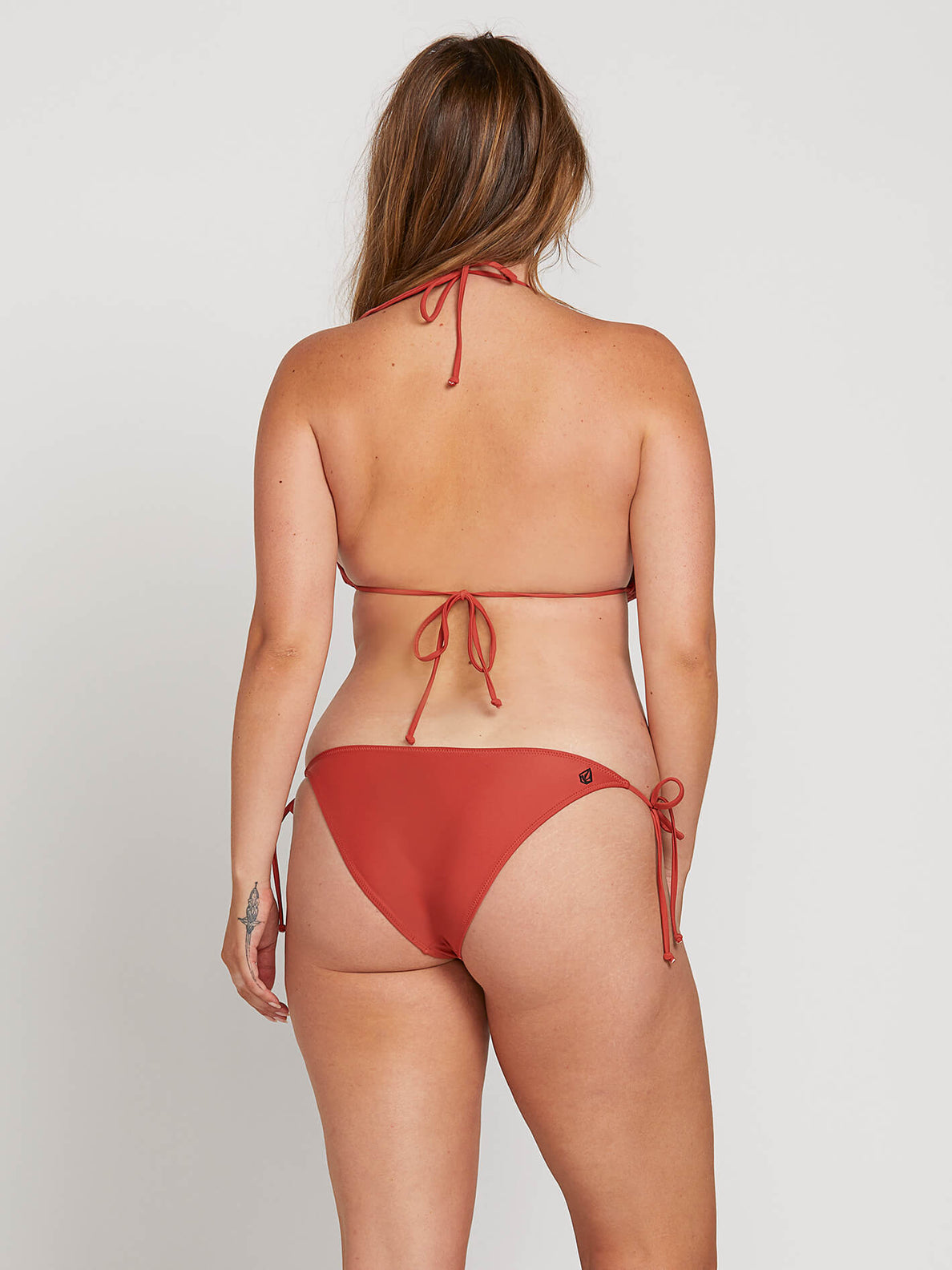 Simply Solid Triangle Top In Burnt Red, Back Extended Size View