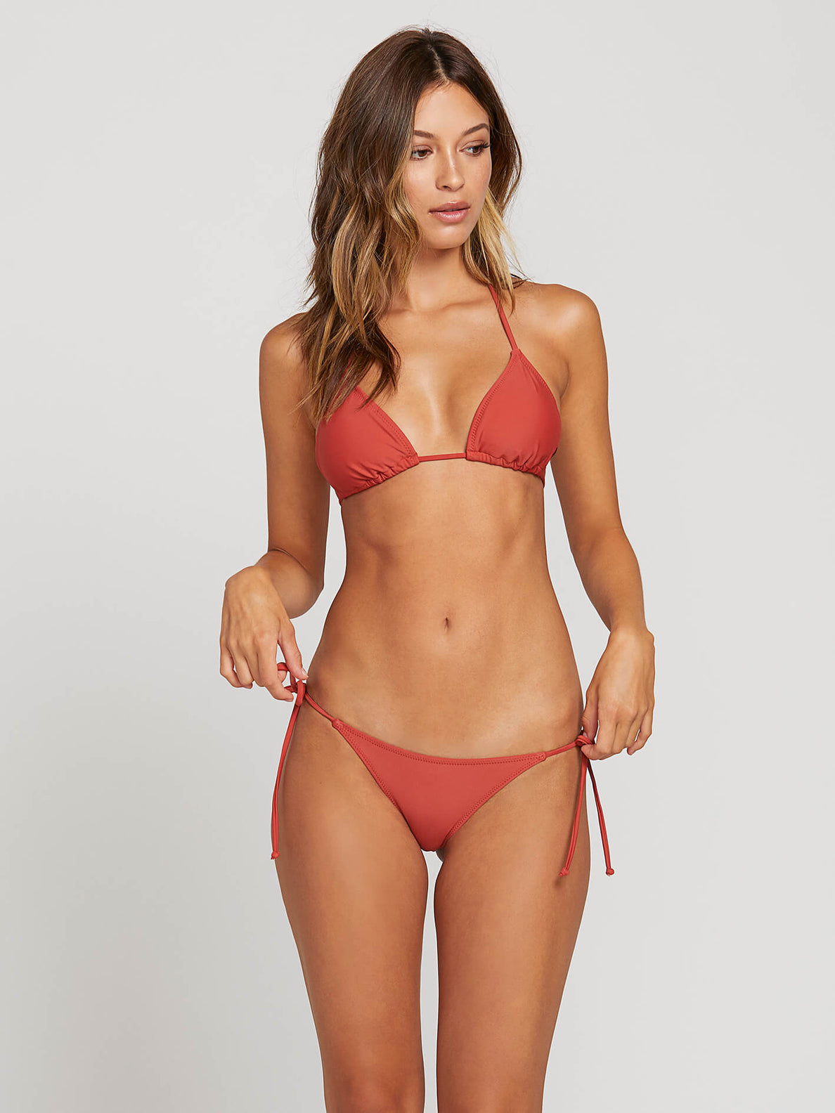 Simply Solid Triangle Top In Burnt Red, Front View