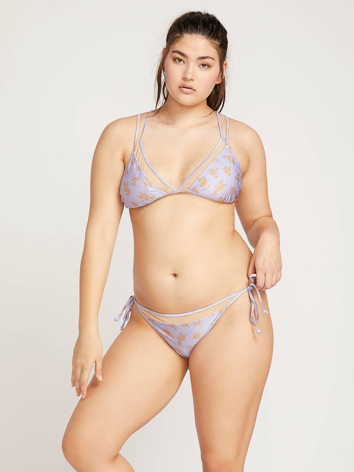Higher Flower Triangle Top In Violet, Front Extended Size View