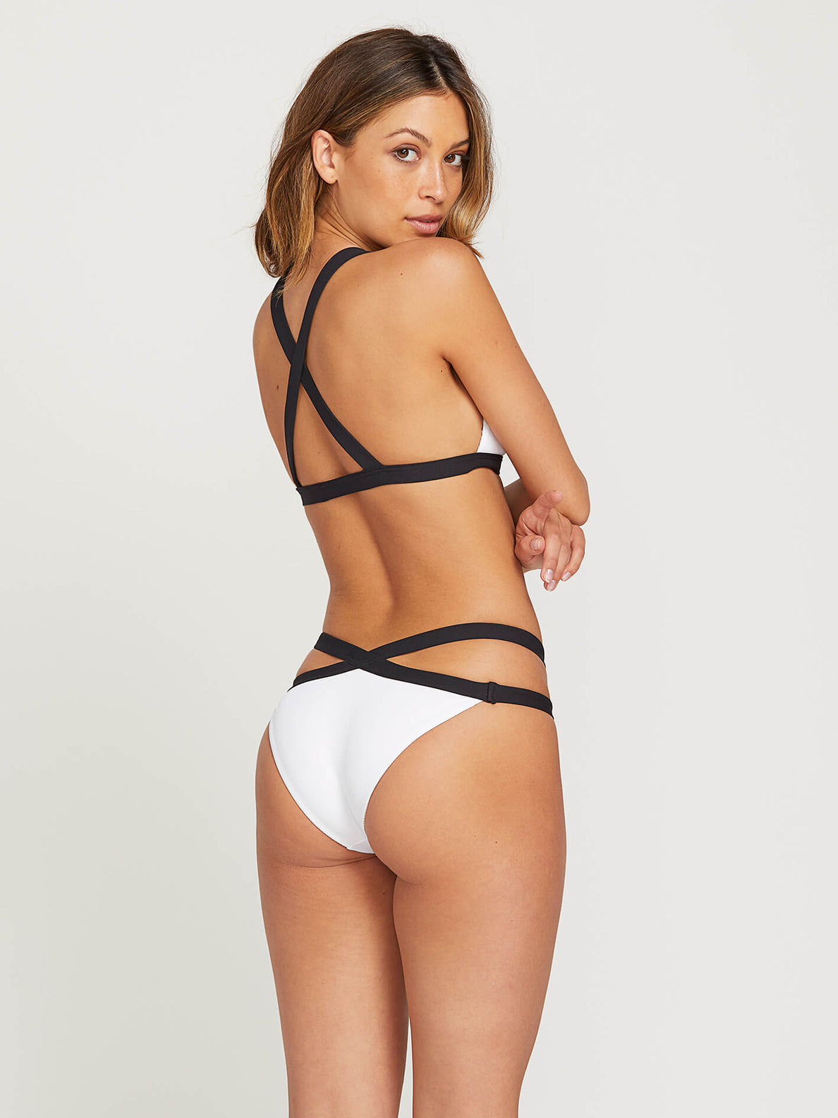 Simply Rib Triangle Top In White, Alternate View