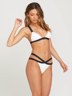Simply Rib Triangle Top In White, Second Alternate View