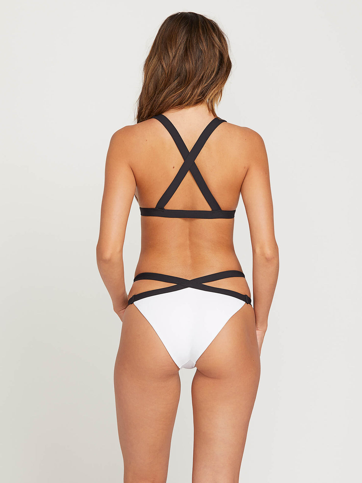 Simply Rib Triangle Top In White, Back View