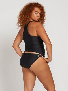 Simply Solid Tankini In Black, Back Extended Size View