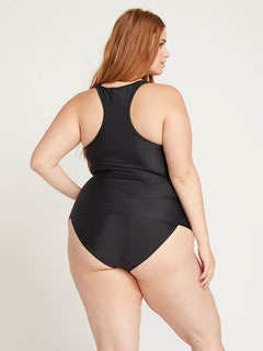 Simply Solid Tankini In Black, Back Plus Size View