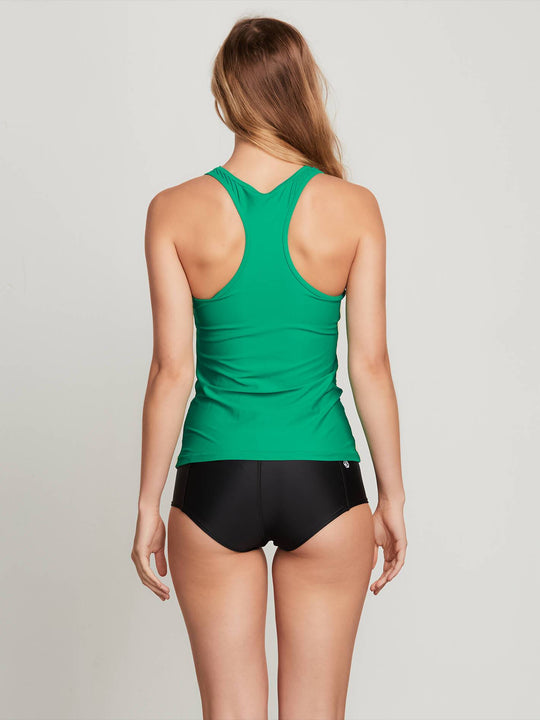 Simply Solid Tankini In Green Spray, Back View