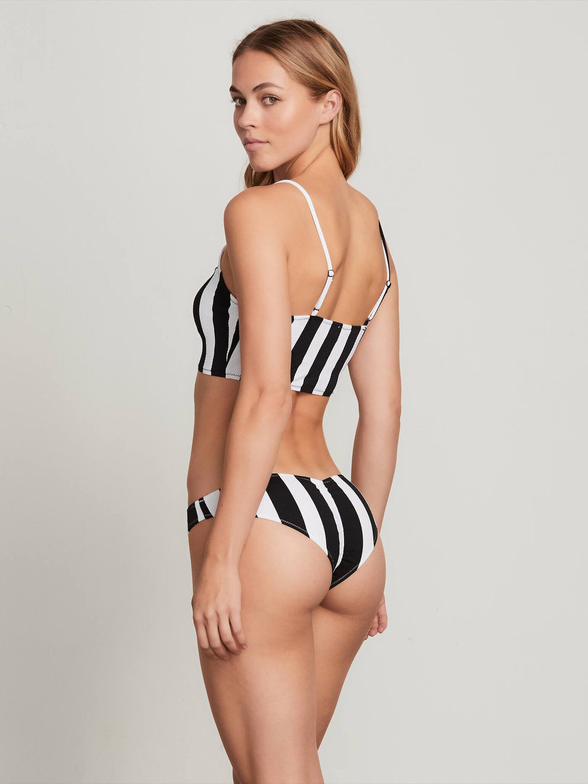 Stripe Club V Bottoms In Black, Back View