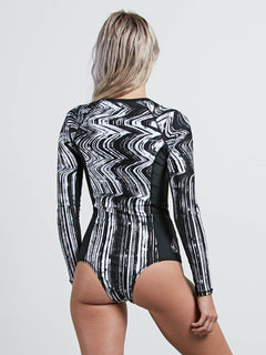Stay Tuned Bodysuit In Black, Back View