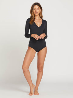 Simply Seamless Bodysuit In Black, Second Alternate View