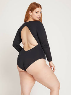 Simply Seamless Bodysuit In Black, Back Plus Size View