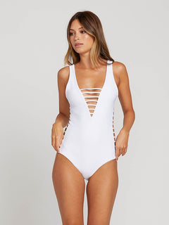 Gmj X Volcom 1 Piece In White, Front View