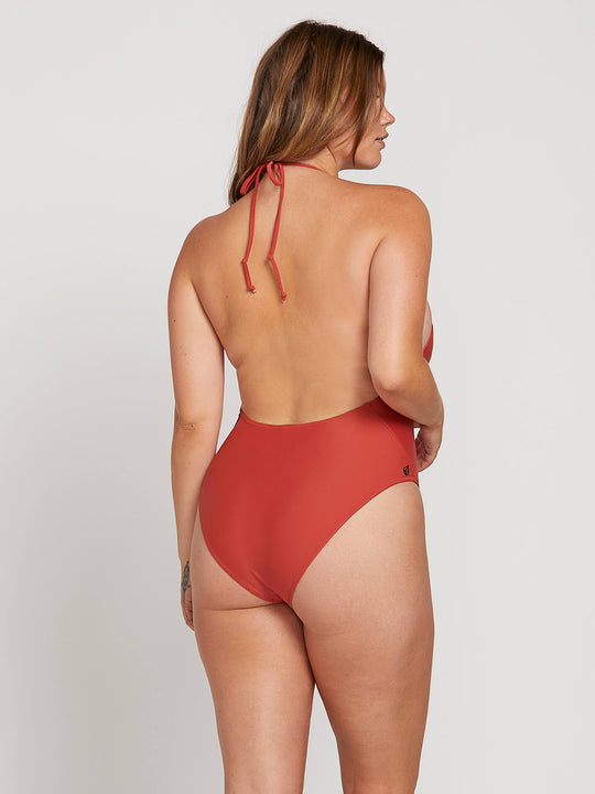 Simply Solid 1 Piece In Burnt Red, Back Extended Size View