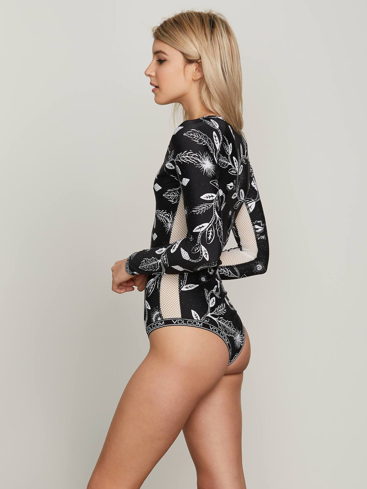 Heavy Petal Bodysuit In Black, Alternate View