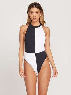 Simply Rib 1 Piece In Black, Front View