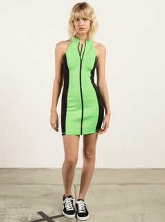 Gmj Dress In Electric Green, Front View
