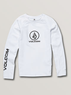 Big Boys Lido Solid Long Sleeve Upf 50 Rashguard - White