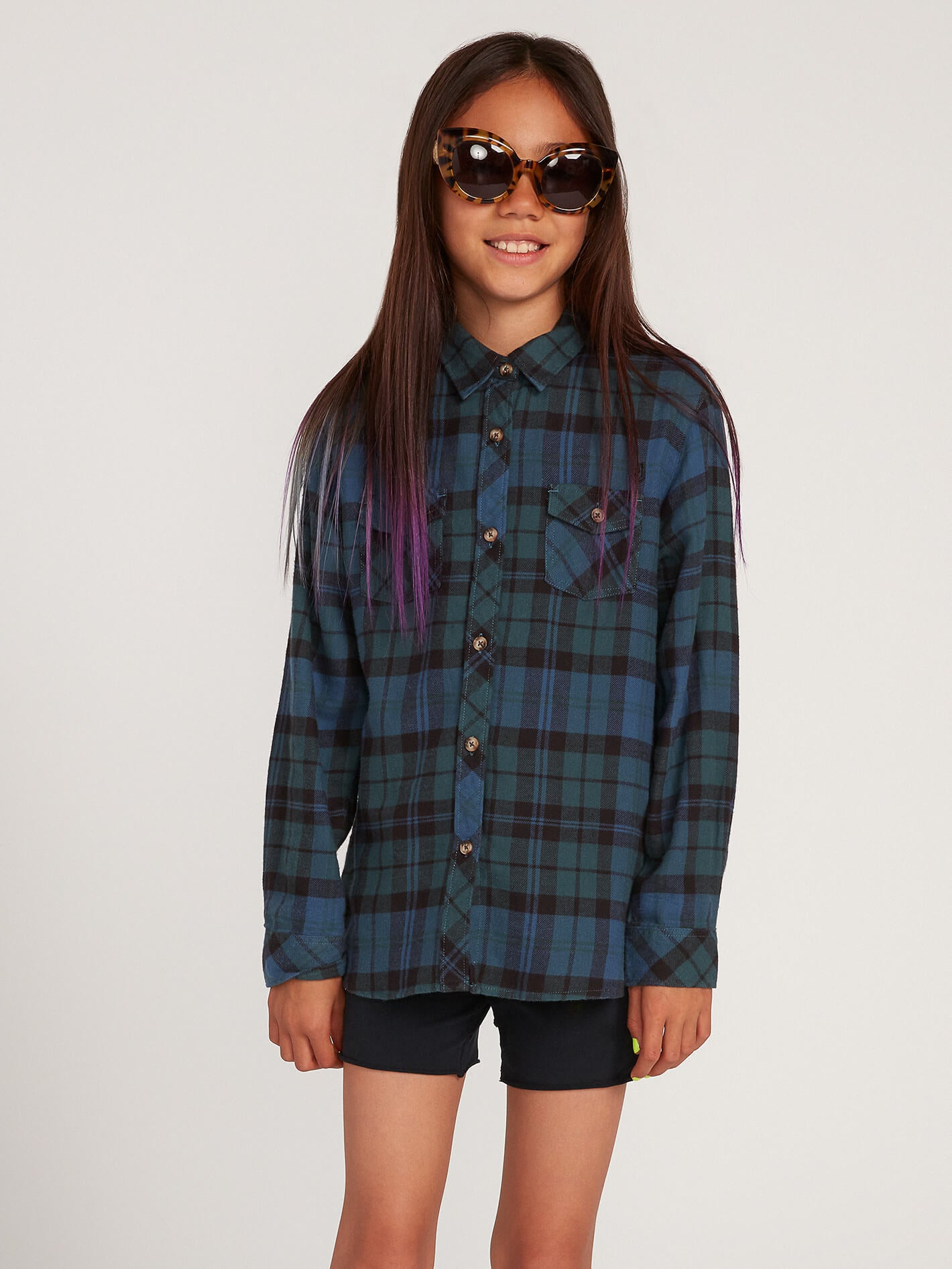 Volcom Big Girls Getting Rad Plaid Long Sleeve - Emerald Green - Emerald Green - M