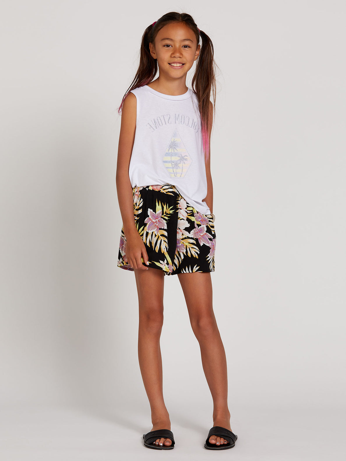 Not Real Shore Shorts - Black Floral Print (R0912001_BFP) [F]