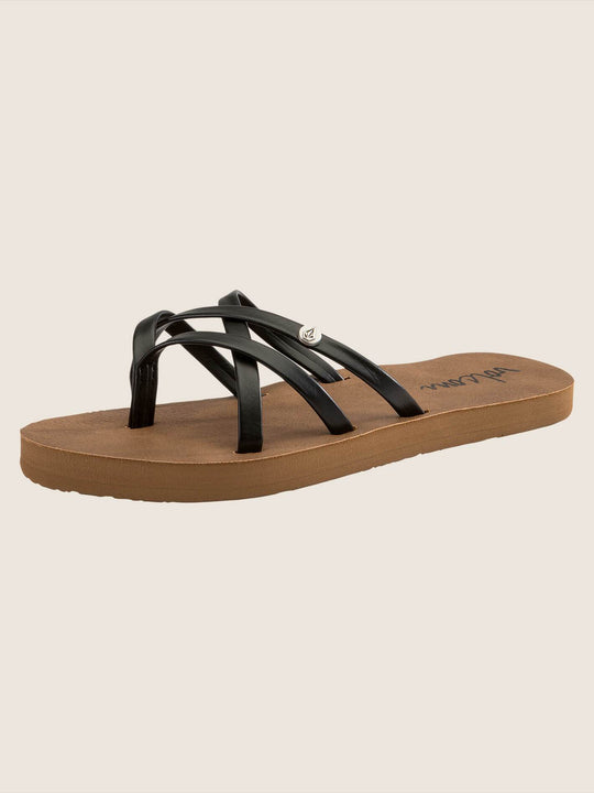 Girls New School Sandals In Black, Back View