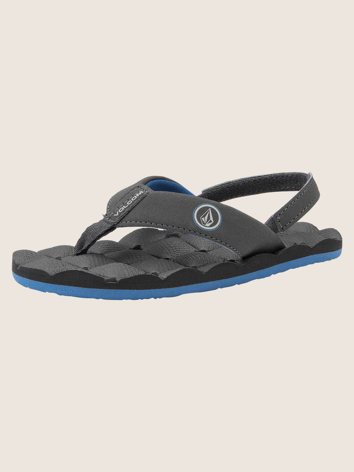 Little Boys Recliner Sandals In Blue Combo, Back View