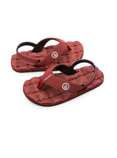 Little Boys Recliner Sandals In Crimson, Front View