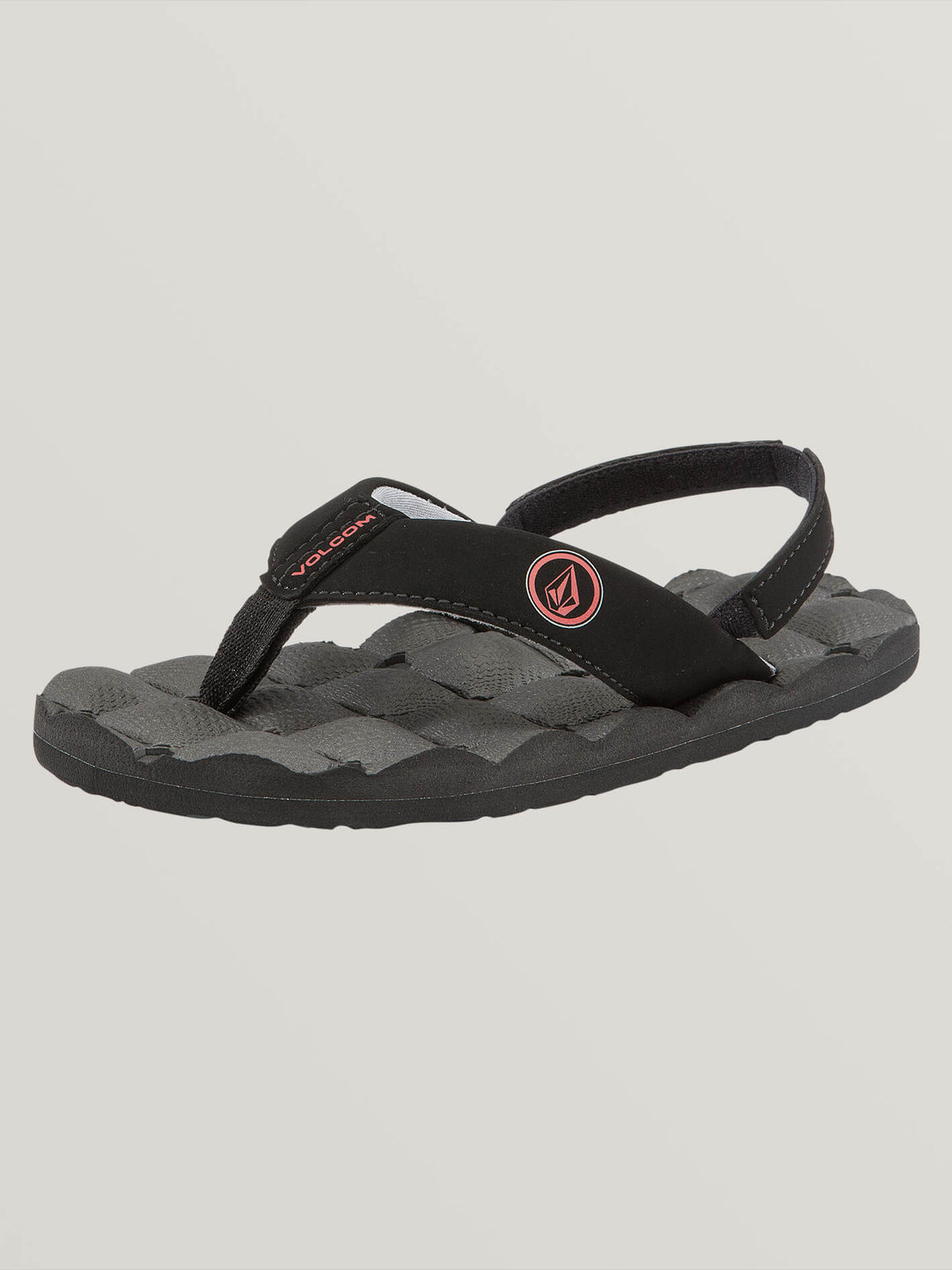 Little Boys Recliner Sandals In Graphite, Back View