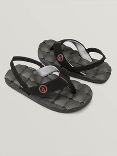 Little Boys Recliner Sandals In Graphite, Front View